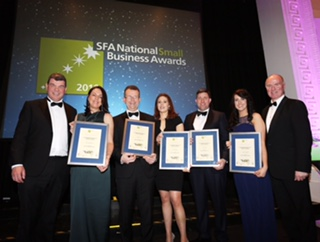Emerging New Business Winners GROUP SHOT - At the SFA National Small Business Awards 2016 today (Thursday 3rd March) are from (L-R) AJ Noonan, Chairman, SFA, Emerging New Business winners, Bernie Kinsella from WorldBox.ie, Robert Kelly from VideoDoc, Claire Kelly from THEYA, Wayne O' Sullivan from DentPro, Cariosa Sullivan from Able Table with David Curtin, CEO, IE Domain Registry, sponsor of the Emerging New Business category.