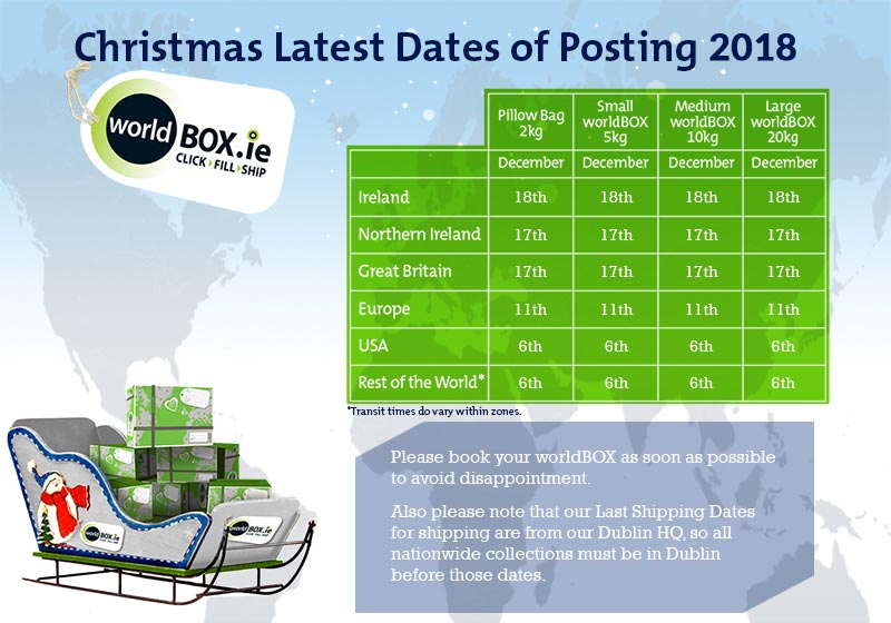 worldBOX - Christmas 2018 Latest Dates of Posting
